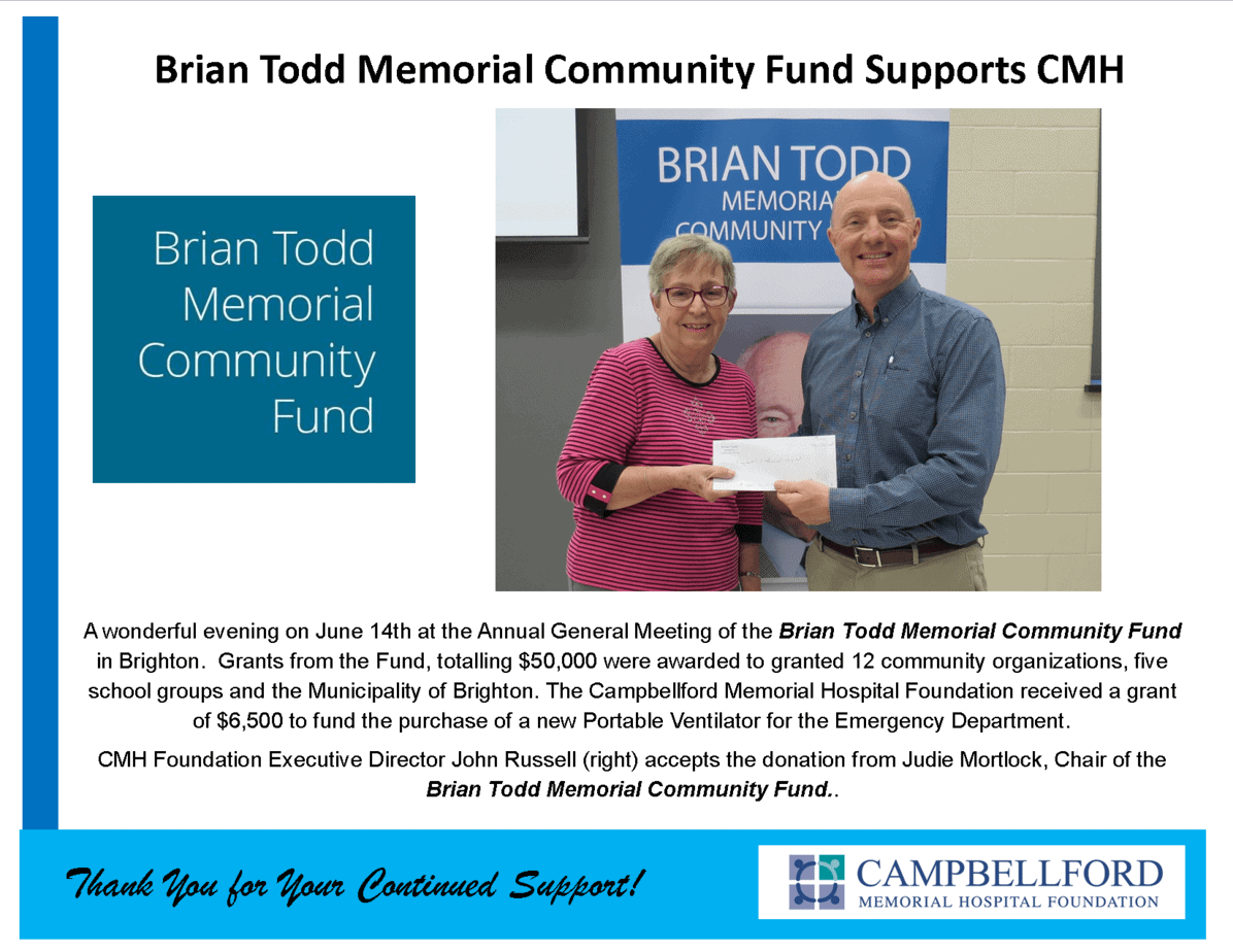 Brian Todd Memorial Community Fund Grant 2018
